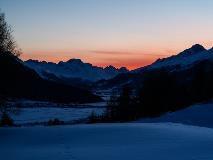 Zonsondergang bij Zuoz