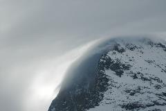 Eiger covered by clouds