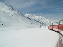 Regional train crossing the Oberalp pass