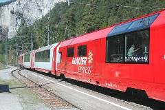 Glacier Express train in Versam-Safien