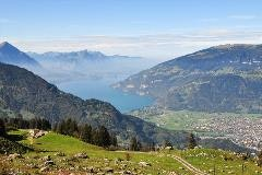 Lake Thun seen from the rail track to Schynige Platte
