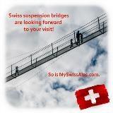 Zwitserse hangbruggen kijken naar u uit