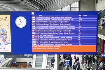 Digital departure board at the Lucerne railway station