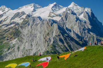 Paragliders at Planplatten