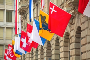 Swiss flag in Zurich