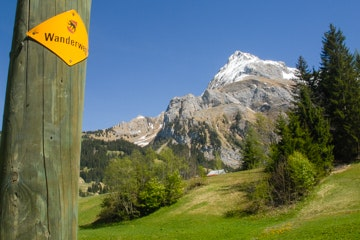 Hiking sign near Gsteig, close to Gstaad