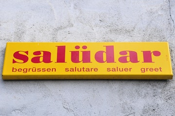 Swiss greeting sign