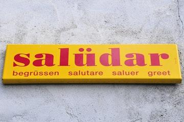 Swiss greeting sign