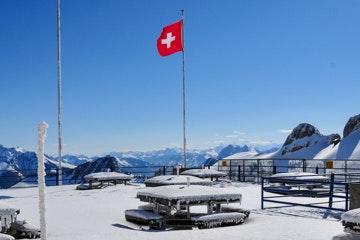 Snowy terrace at Rochers-de-Naye
