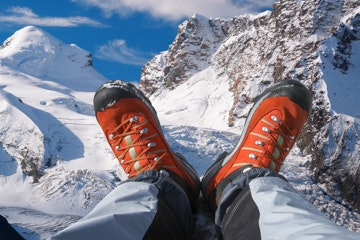 Hiking shoes with mountains