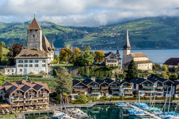 Spiez castle and marina