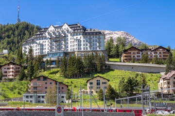 St. Moritz train station and Carlton hotel