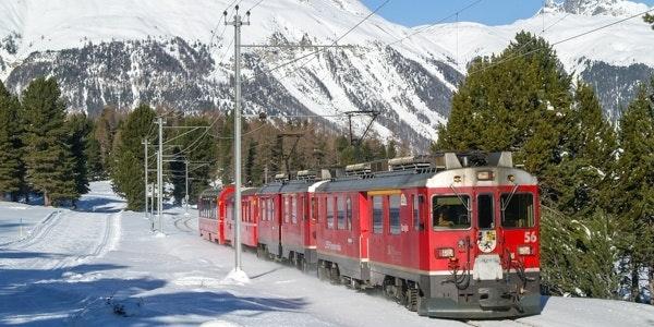 Train heading for Tirano approaching Pontresina