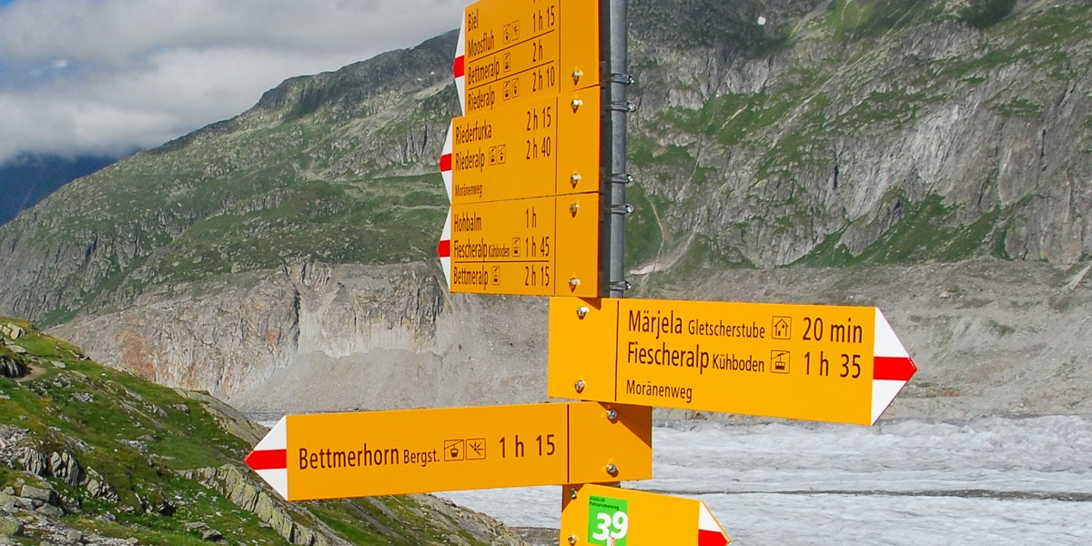 Signposts near Aletsch glacier