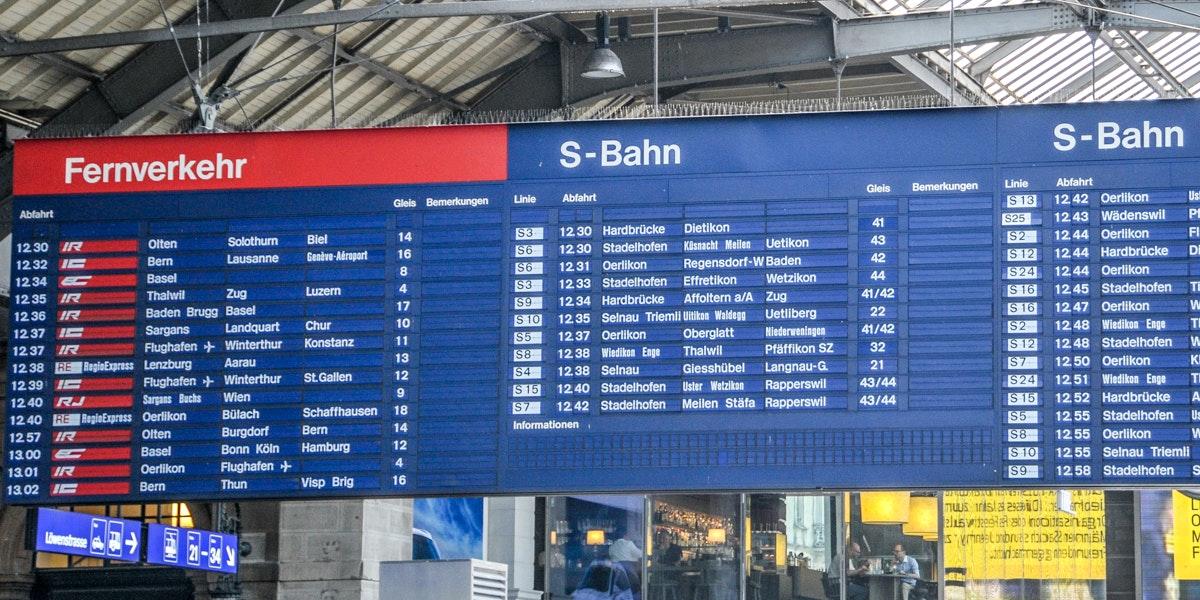 Zürich HB vertrektijden