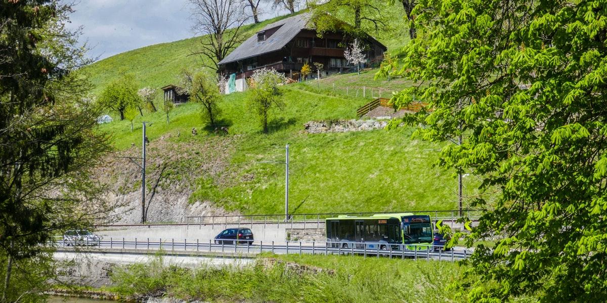 Road in Emmen valley Switzerland