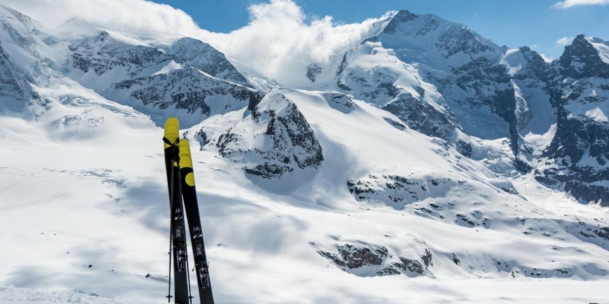 Piz Bernina and skis