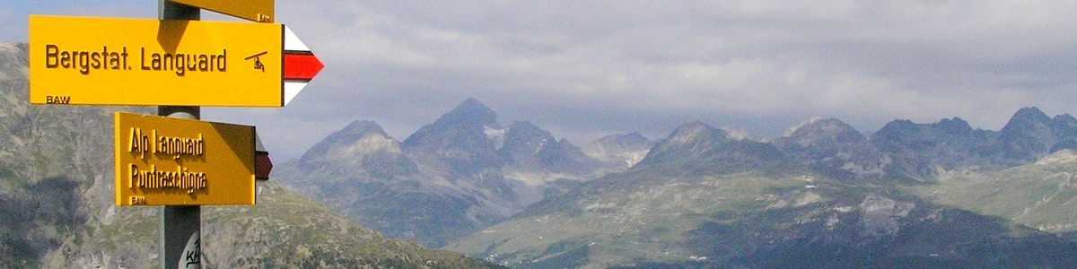 Wandelbordjes op Alp Languard