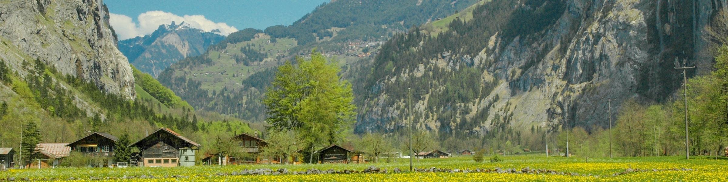 Lauterbrunnen valley seen from Stechelberg