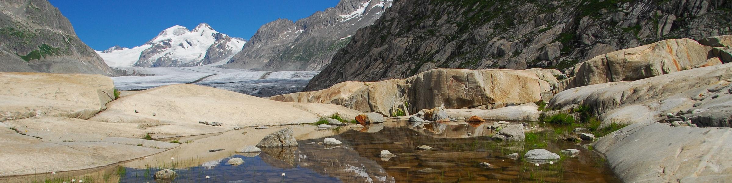 Lakes Aletsch glacier