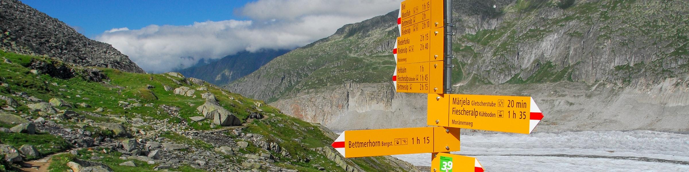 Signpost Aletsch glacier