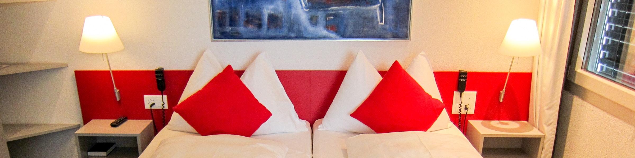 Hotel bed in Switzerland