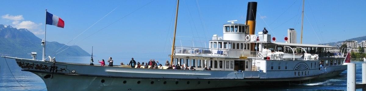 Boat on Lake Geneva near Territet