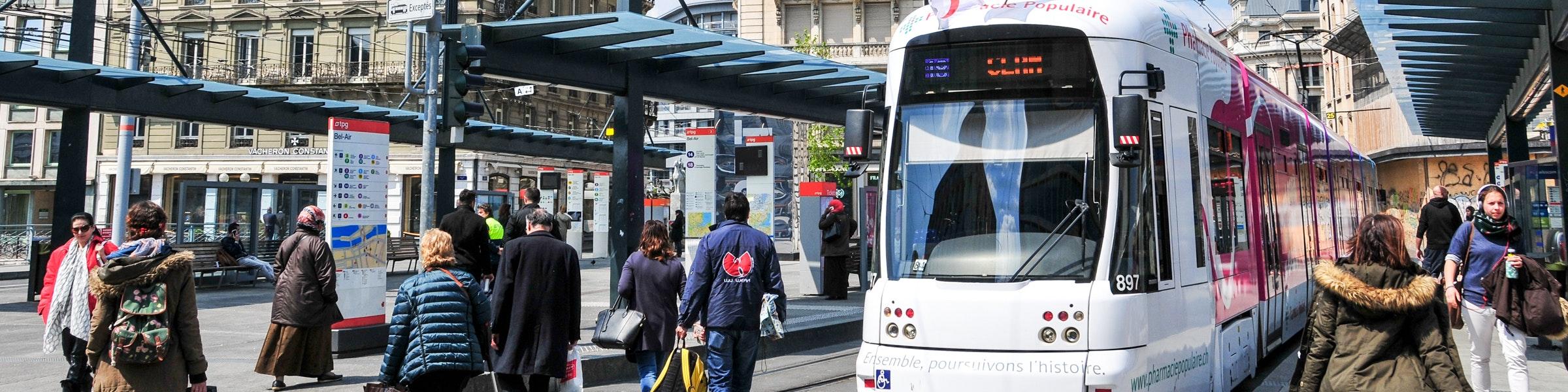 Geneva tram stop Place de Bel Air