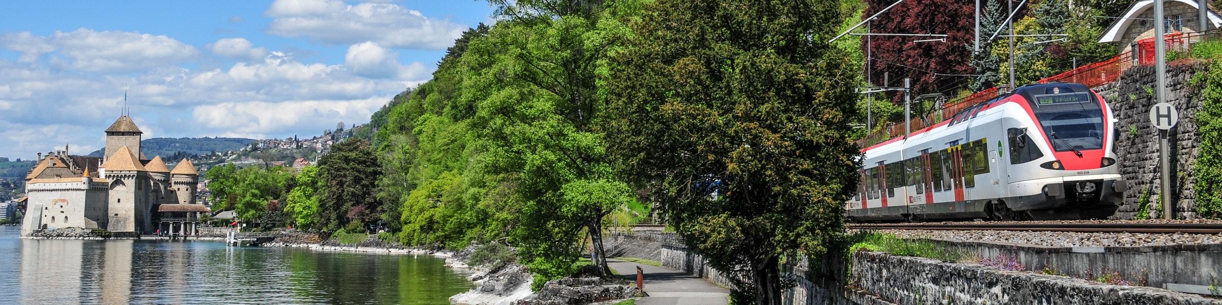 Train near Chillon Castle