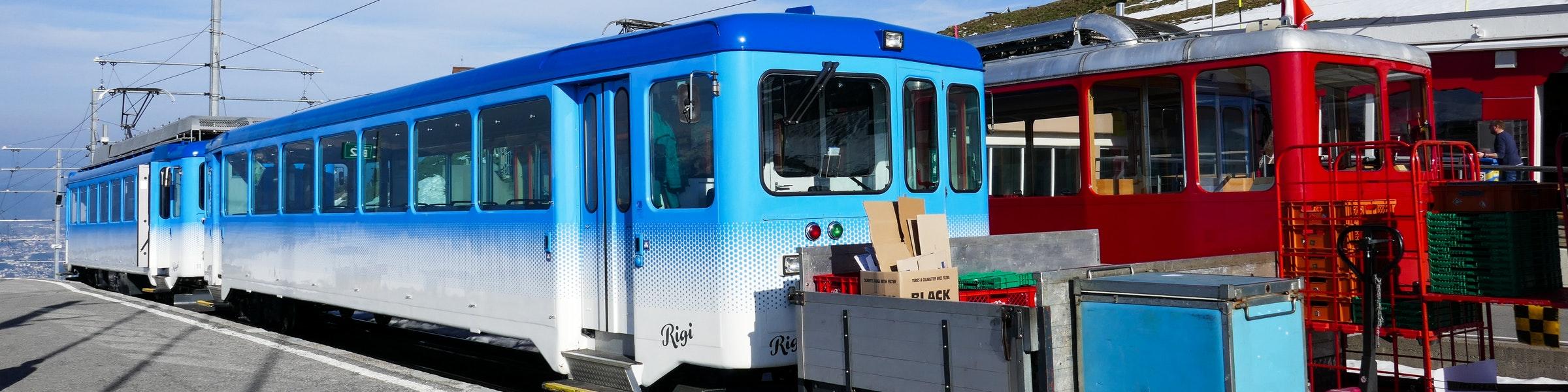Rigi trains at Kulm